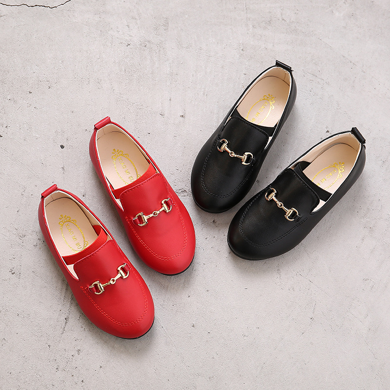 Kids Shoes Children Boys Girls PU Leather Shoes Fashion Black Leather Children's Baby Princess Party Tennis Shoes-Infant