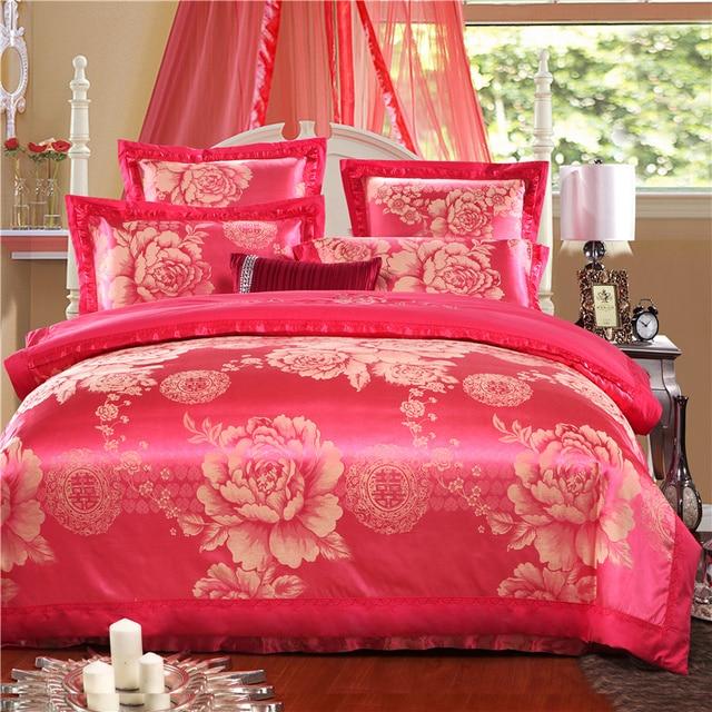 Yadidi 100 Cotton Peach Chinese Style Silk Bedding Set Home Classic