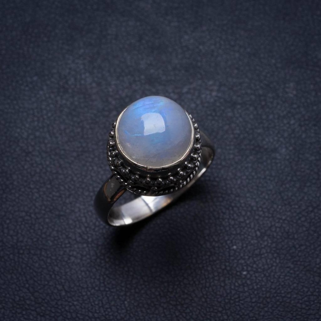Natural Rainbow Moonstone Handmade Unique 925 Sterling Silver Ring, US size 8.75 X2043 natural rainbow moonstone handmade unique 925 sterling silver ring 6 75 y4681
