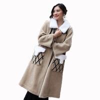 Осенне зимняя куртка женская одежда 2018 Корейская шуба из натурального меха винтажная норковая шуба с воротником из овечьей шерсти длинное