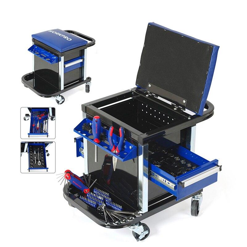 WORKPRO 135 PC Conjunto de Ferramentas Móveis Bancada Fezes Assento com Ferramentas de Mão De Obra