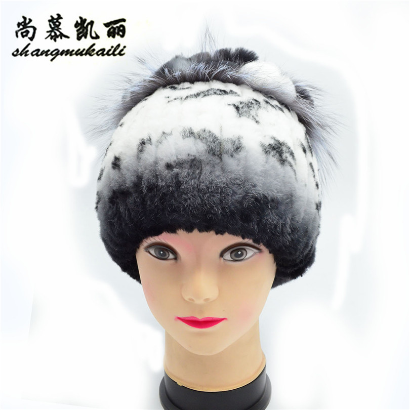 Fur Cap Knitted Hats For Winter Women Beanies for Extremely cold Hats for Russian Casual thicking hats women caps warm female russian hats for extremely cold fur hat guarantee 100