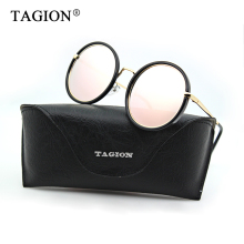 TAGION Round Sunglasses Women 2018 Retro Sun Glasses For Female Mirror Lenses Brand Designer Eyewear With Box 9029