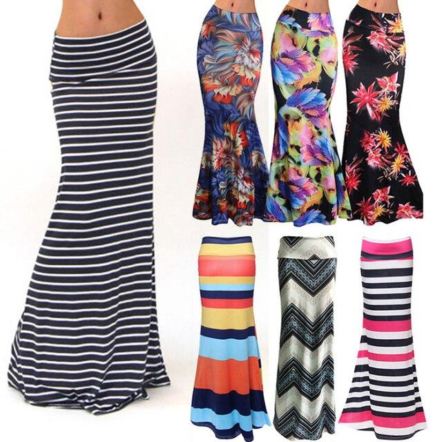 9cb9bfa99e High Waist Long Pencil Skirt Woman Summer 2019 Floral Striped Print Boho  Maxi Bodycon Skirts Plus Size White Black