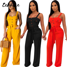 цена на Echoine Sexy Spaghetti Strap Front Buttons Pockets Long Wide Leg Jumpsuit Women High Waist Straight Sleeveless Jumpsuit Belt