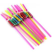 NEW Arrival 20pcs Umbrella Disposable Bendable Colorful Drinking Straws for Luau Parties Bars Restaurants(China)