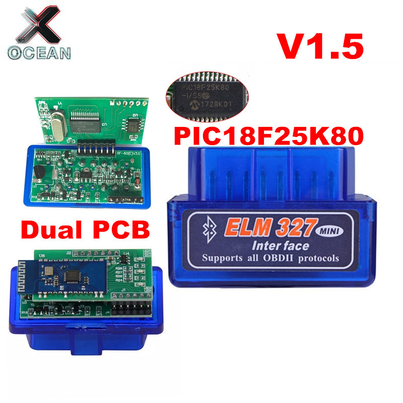 Dual Double 2PCB PIC18F25K80 Firmware 1 5 ELM327 V1 5 OBD2 Bluetooth Diagnostic Interface ELM 327 V1 5 Hardware Support More Car