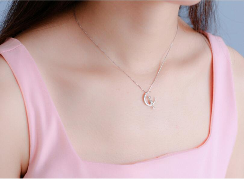 Hot New s925 Silver Fashion Cat Moon Pendant Necklace Charm Silver Chain Necklace For Pet Lucky Jewelry For Women Gift in Pendant Necklaces from Jewelry Accessories