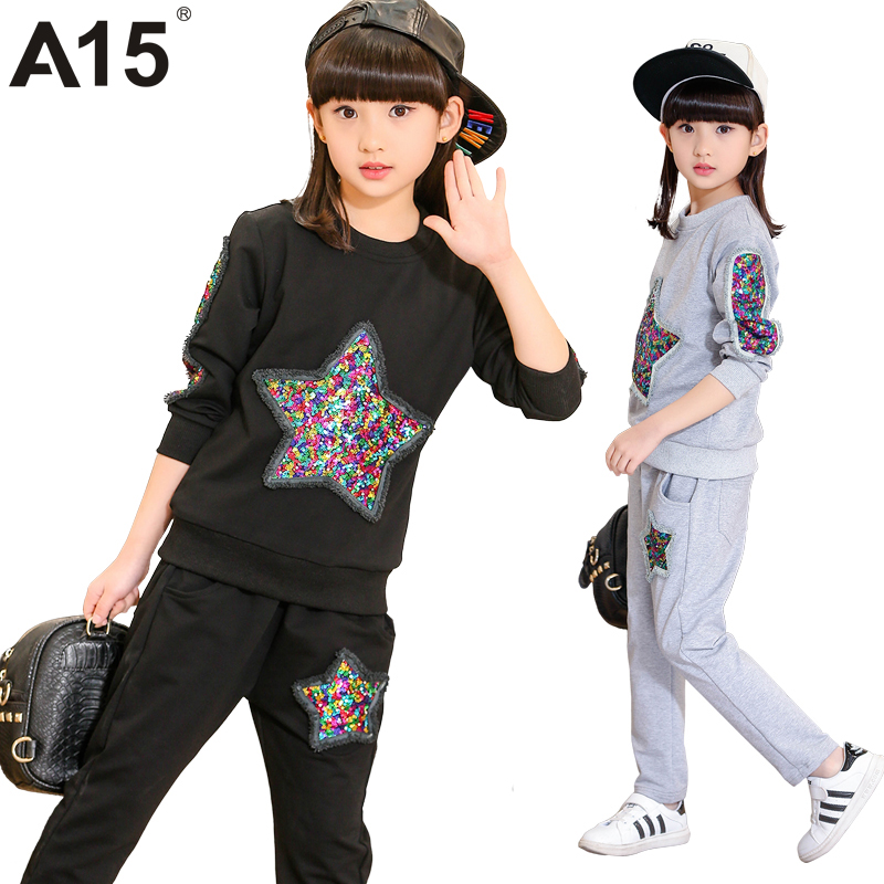 A15 Tracksuit Girls Sports Suits Fashion Toddler Girl Clothing Sets 2017 Spring Autumn Sequin Outfit Clothes Size 4 6 12 14 Year 2014 spring autumn new fashion girls sports suits zipper coat trousers flowers print big girl clothes sets children sportswear