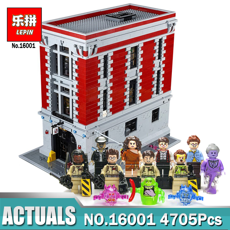 Lepin 16001 4705Pcs Ghostbusters Firehouse Headquarters Model Building Blocks Kits Toys For Children Compatible Legoing 75827 4695pcs lepin 16001 city series firehouse headquarters house model building blocks compatible 75827 architecture toy to children