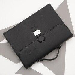 genuine leather handbag A4 business brief case Manager bag file folder with handles Document bag Organizer with key lock 1309B