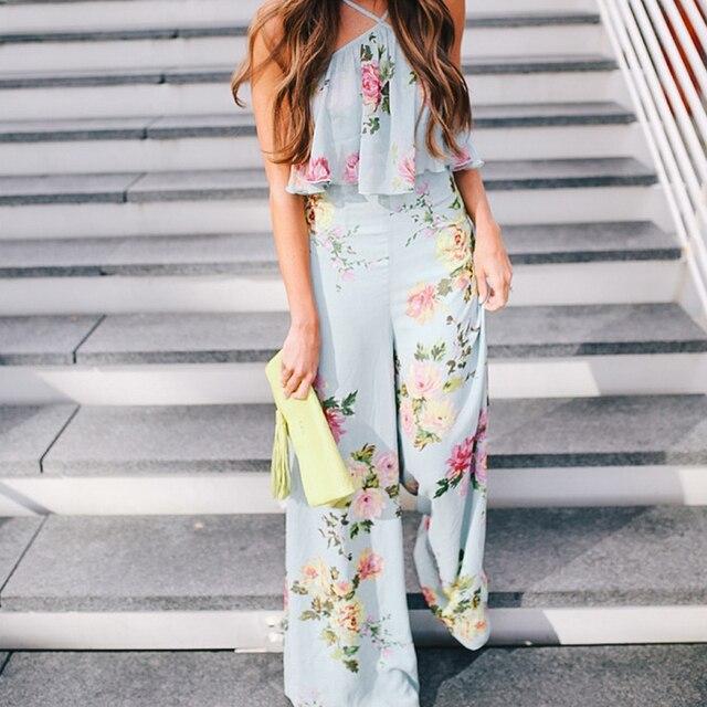 e3a89a567c4f Bohemian Ruffle Floral Print Vintage Sexy Jumpsuit Boho Green Flower Rompers  Women Jumpsuit 2018 Elegant Chiffon Summer Jumpsuit