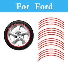 Red Auto Wheel Rim Stripe Tape Car Sticker And Decal For Ford Flex Focus RS ST Five Hundred Focus ST Freestyle Fiesta Fiesta
