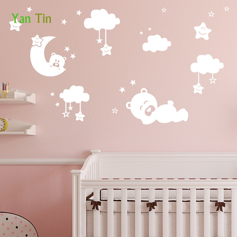 Cartoon Lovely Stars Moon Bear Clouds Wall Sticker Home Decor Bedroom Kids Baby Rooms Nursery Poster Removable  DIY Art Mural