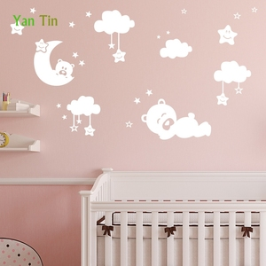 Cartoon Lovely Stars Moon Bear Clouds Wall Sticker Home Decor Bedroom Kids Baby Rooms Nursery Poster Removable DIY Art Mural(China)
