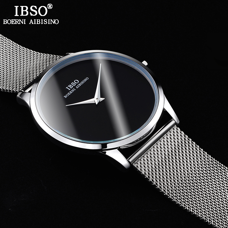 IBSO Ultra thin Mens Watches Top Brand Luxury Stainless Steel Mesh Strap Sports Quartz Watch Men Simple Style Relogio Masculino readeel top brand mens watches luxury quartz casual watch men stainless steel mesh strap ultra thin dial clock relogio masculino
