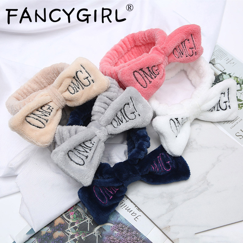 "New Letter""OMG"" Flannel Soft Bow Headbands For Women Girls Turban Cute Hair Holder Hairbands Hair Band Headwear Hair Accessories"
