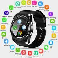 Reloj inteligente V8 para hombres, relojes deportivos con Bluetooth para mujer, reloj inteligente para mujer, para mujer, con ranura para tarjeta Sim y cámara, teléfono Android PK DZ09 Y1 A1