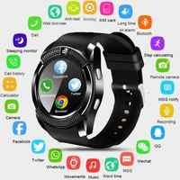 V8 montre intelligente hommes Bluetooth Sport montres femmes dames Rel gio Smartwatch avec caméra carte Sim fente Android téléphone PK DZ09 Y1 A1