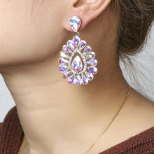 THRWELL Teardrop Crystal Multi-color Earrings inlay with Rhi