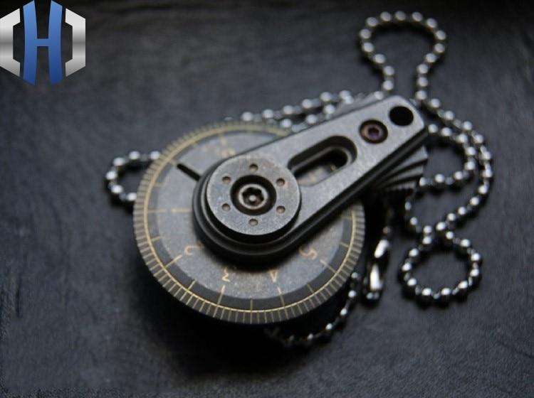 EDC Mini Titanium Alloy Ruler Manual Measuring Tool Tape Measure Caliper Pendant Keychain