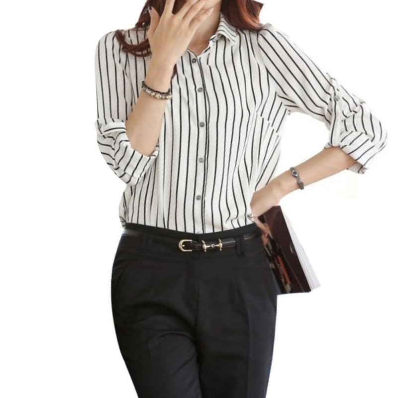 Fashion Women's Striated Tops Long Sleeve OL Turn-Down Collar Shirt Casual Blouse S4