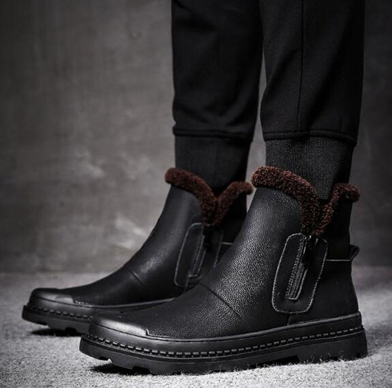 Botas masculinas de inverno preto com pele