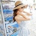 DreamShining Visera de Las Mujeres Tejidas MS Plegable Sombrero de Paja Sombrero de Ala Grande Sombrero de Verano Arco Lindo Vincha de Materiales Naturales Puros
