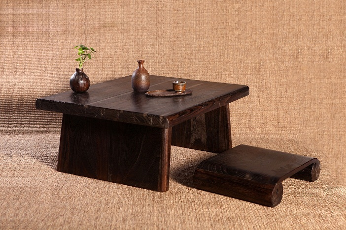 Japanese Antique Table Rectangle 80*70cm Paulownia Wood Asian Traditional Furniture Living Room Low Floor Table For Dining