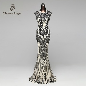 Image 1 - Poems Songs New Hot sale Mermaid Evening Dress prom gowns Party dress vestido de festa Sexy Backless Luxury Sequin robe longue