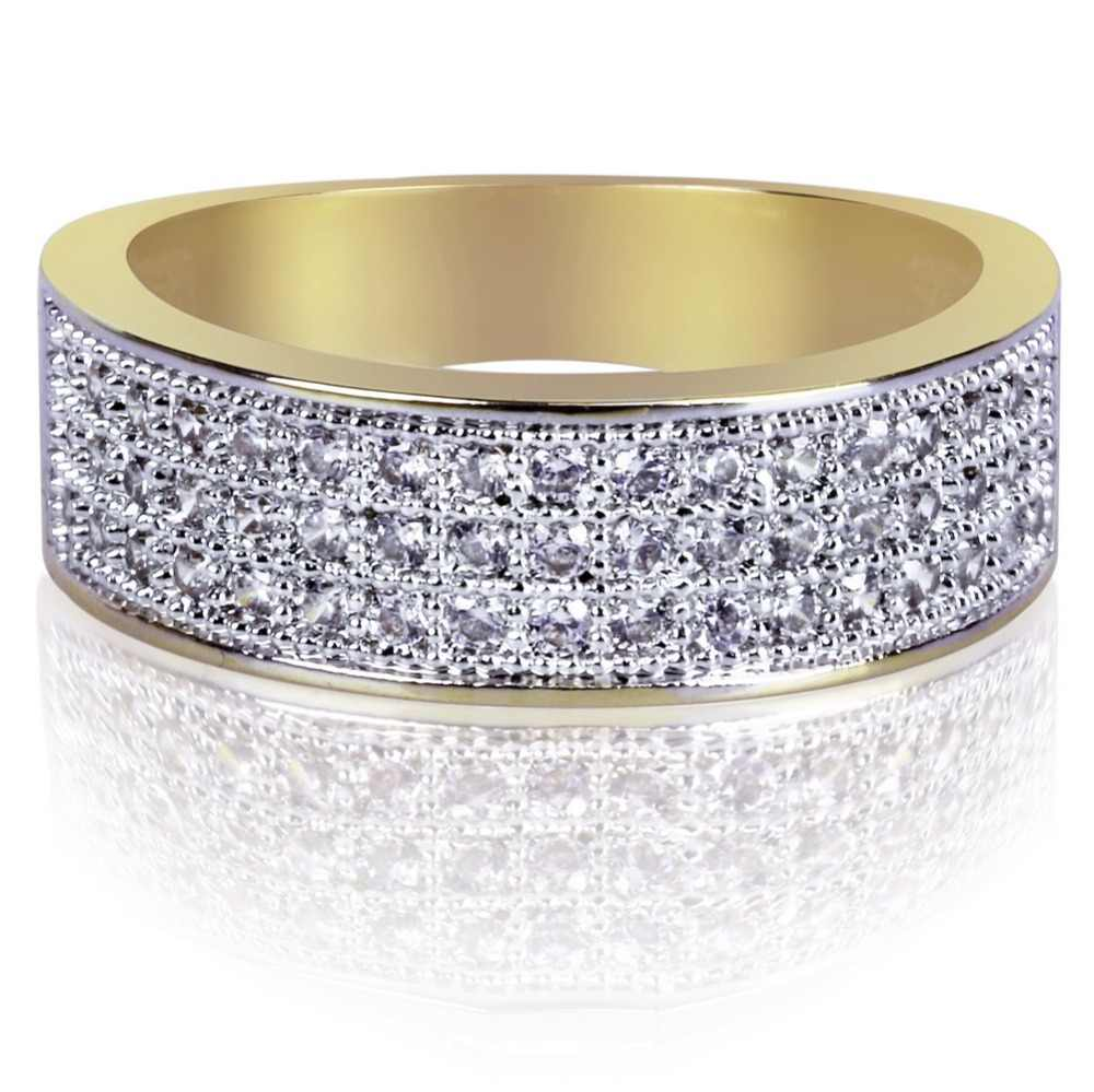 TOPGRILLZ Gold Plated Micro Pave Cubic Zircon แหวนกลม 7 มม.กว้าง Iced OUT Bling เครื่องประดับ Hip Hop แหวนสำหรับหญิง