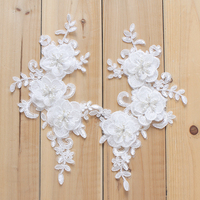 Handmade Bead Flower Lace Patch Diy Clothing Material Wedding Dresses Decorative Lace Accessories 2PCS Lot