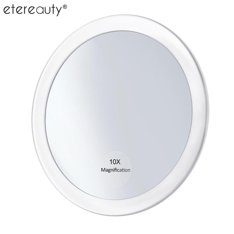 10x Vergrößerungs Runde Spiegel Make Up Klapp Taschenkosmetikspiegel Vergrößerung Taschenspiegel mit 3 Saugnäpfe 5,9 Zoll
