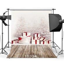 Fondo fotográfico Navidad Pino regalos caja nieve Vintage rayas suelo de madera Navidad fondos Feliz Año Nuevo fondo