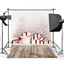 Photographie toile de fond noël pin arbre cadeaux boîte neige Vintage rayures bois plancher de noël décors bonne année fond