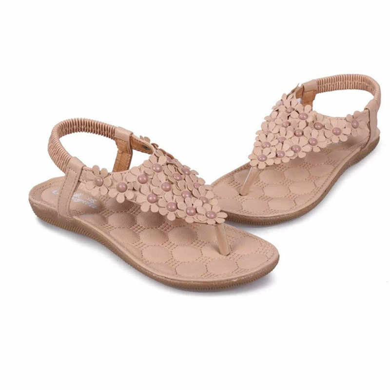 New Women Sandals Summer Bohemia Sweet Beaded Sandals Clip Toe Sandals Beach Shoes Leather Flat Sandalias Mujer sapato feminino