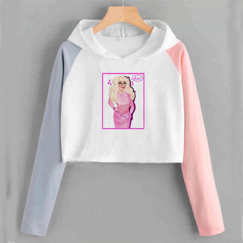 Crop Top Sweatshirt Trixie Mattel Hoodies Frauen Lustige Kawaii Oh Honig Cropped Tops Langarm Lose Pullover Tops Ropa Mujer