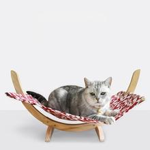Yfashion Pet articles hammock solid wooden bed cat dog nest swing pad small crawler