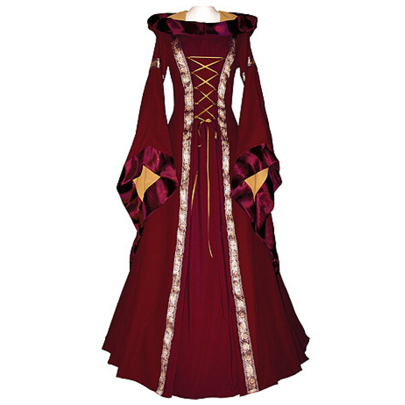 Hot Gothic Period Dress Reenactment Theatre Dresses Medieval Hooded Hallowmas Dress