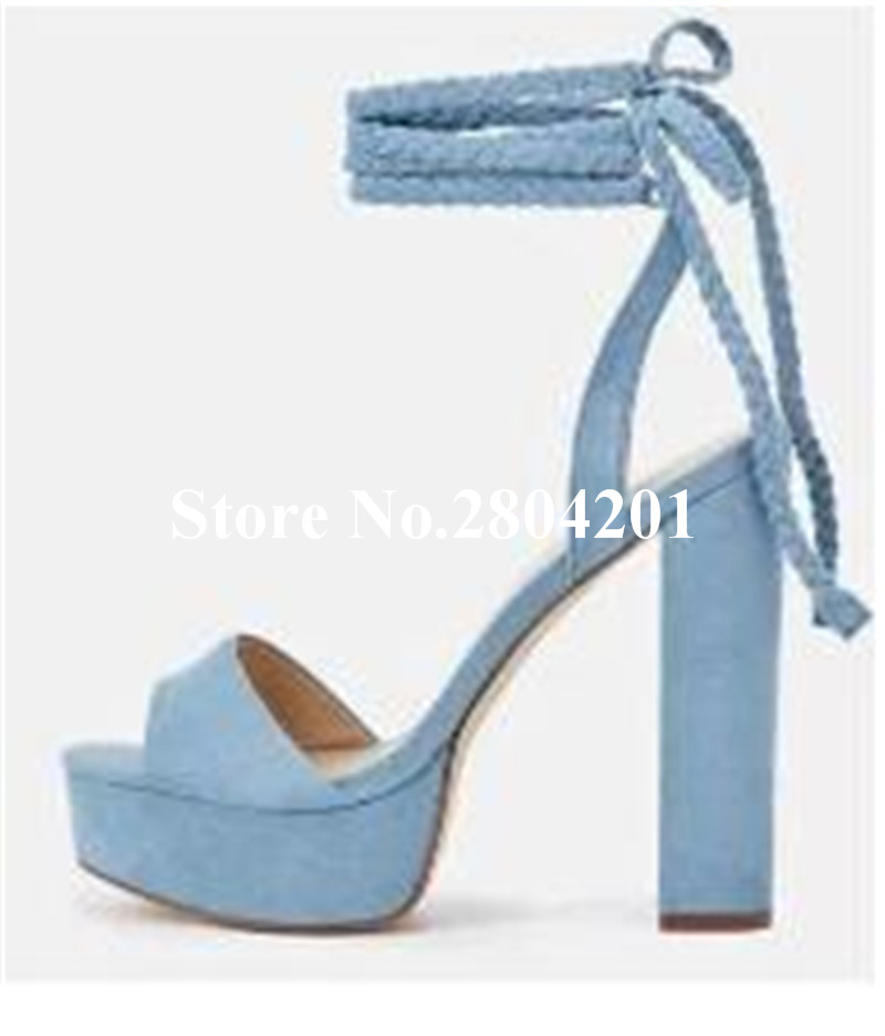 2018 New Arrival Sandals Sweet Ankle Strap Platform Peep Toe Thick Heel Lace Up Slingback Super High Heel Dress Shoes Women leisure women s peep toe shoes with slingback and chunky heel design