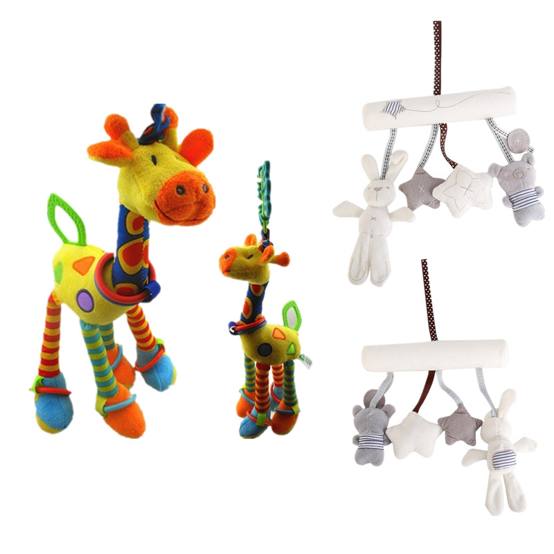 Giraffe/rabbit  Bed Bells Infant toy long hanging animal Baby child rattle bed bells toys for gril boy gift 50% off soft infant crib bed stroller toy spiral baby toys for newborns car seat hanging bebe bell educational rattle toy for gift