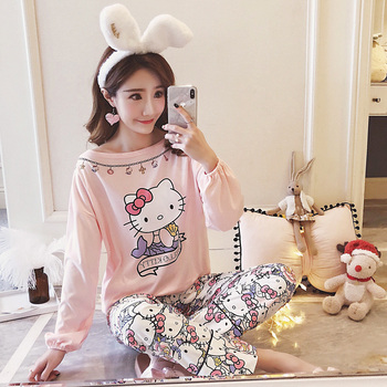 Hello Kitty Pajama Set for Women Sweet Home Wear Suit Long Sleeve Pullover 2 Piece Set Pyjama Spring Long Sleeve Female Pajamas tights