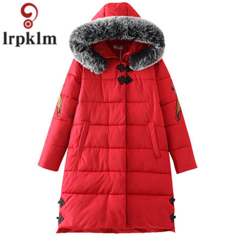Women Winter Cotton Padded Jacket Chinese Style Button Hooded Fur Collar Loose Parkas Female Winter Coats Plus Size 5XL AS024