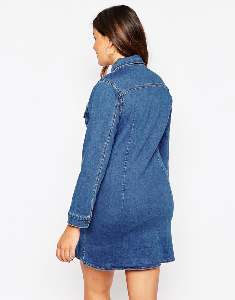 a2a740a2eb 2016 Autumn Street Denim Shirt Dress American Apparel Winter Jacket Style  Women Office Dresses High Quality Plus Size 6xl 7xl-in Dresses from Women s  ...