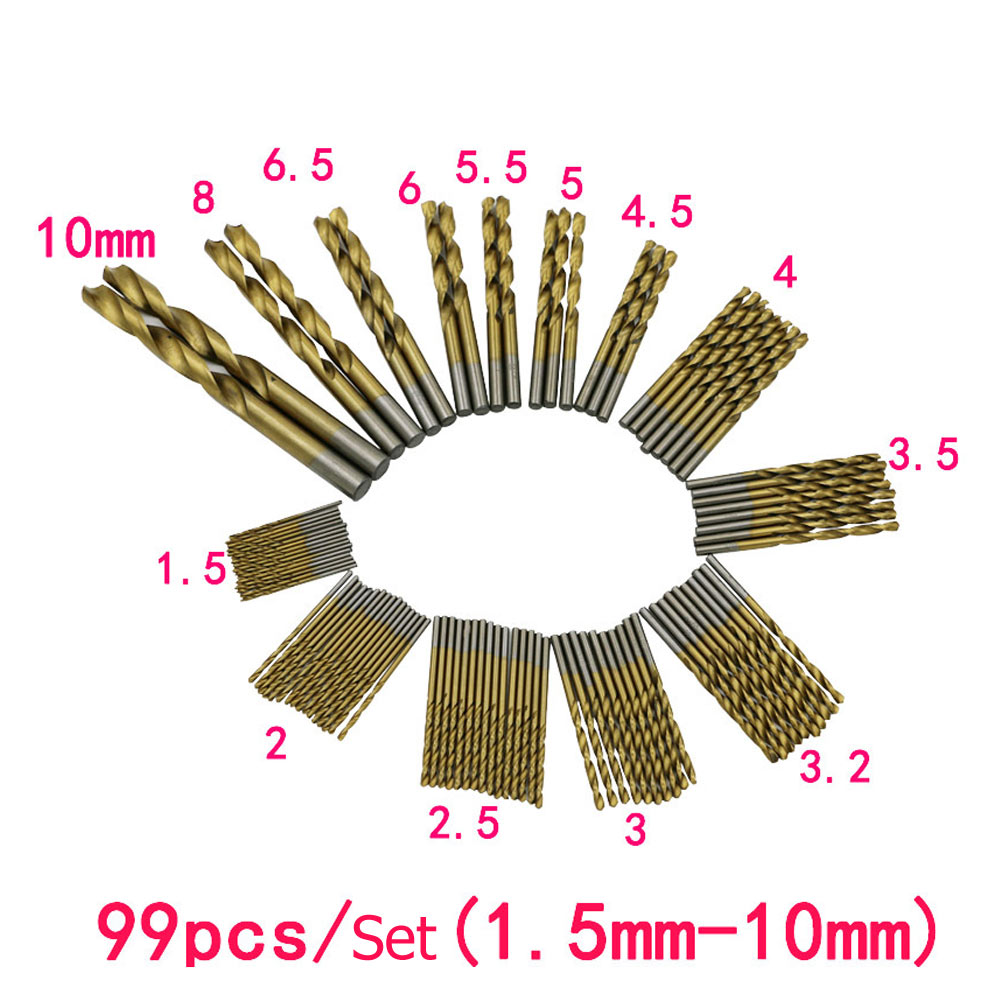 New Mini 99 Pcs1.5mm -10mm  HSS Titanium Coated Manual Twist Drill Straight Shank Drill Bits Set Tools For Drilling Metal 99pcs mayitr hss drill bits set titanium coated woodworking drilling tools 1 5mm 10mm