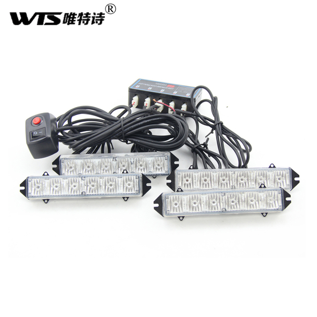 4 * 6led hoge power Voertuig Strobe Verlichting 24LED flitslamp auto ...