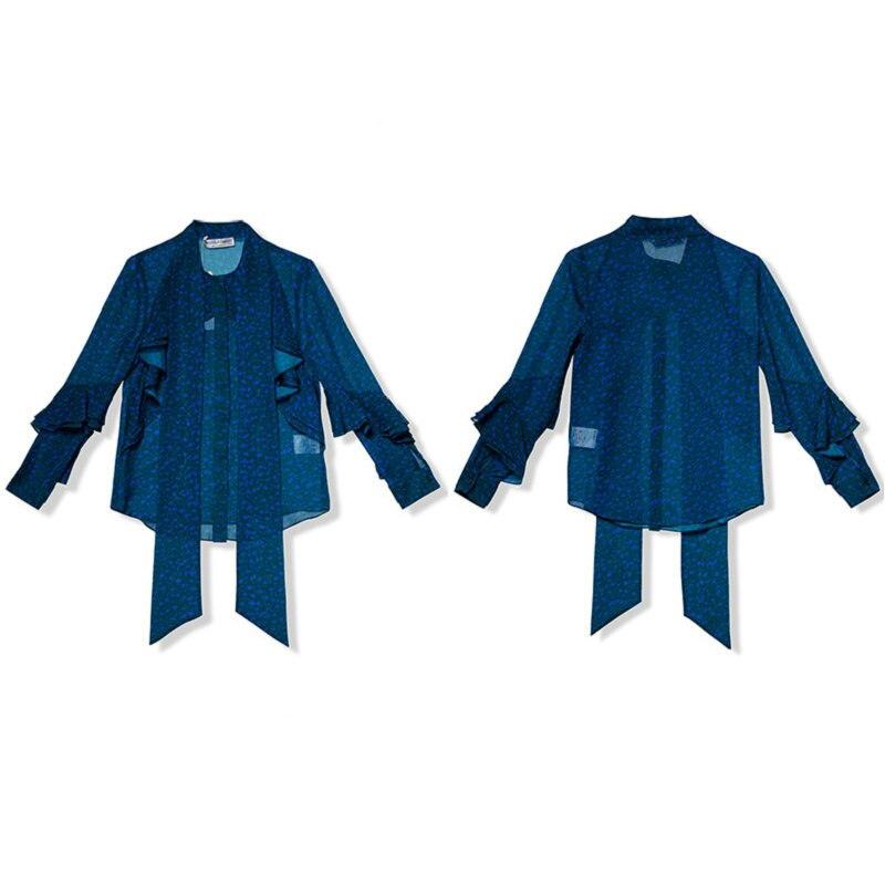 Nuovo Autunno della Molla Magliette e camicette Ufficio Delle Signore Camicetta di Modo Lungo Del Manicotto Del Chiarore Sottile Arco Della Camicia Femminile Carino Aderente Lavoro Camicette Blusas - 5