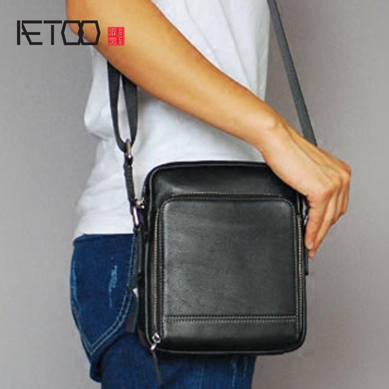 AETOO  Men's Leather Small Letter Making Bag Vertical Business Leather Men's Bag Mini Casual Shoulder Bag wenger mini vertical boarding bag 1826 66