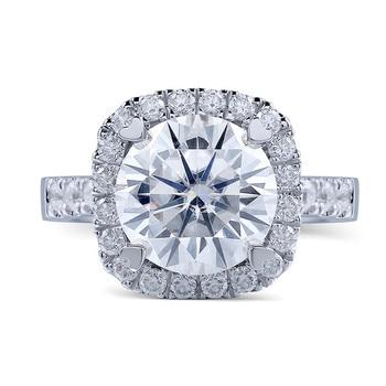 TransGems 14K 585 White Gold 1.5 Carat Diameter 7.5mm Lab Grown Moissanite Diamond Engagement Wedding Ring for Women 1
