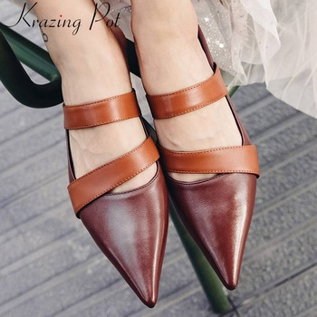Krazing Pot hot selling European movie stars full grain leather slip on mules elegant pointed toe vintage mixed colors shoes L35